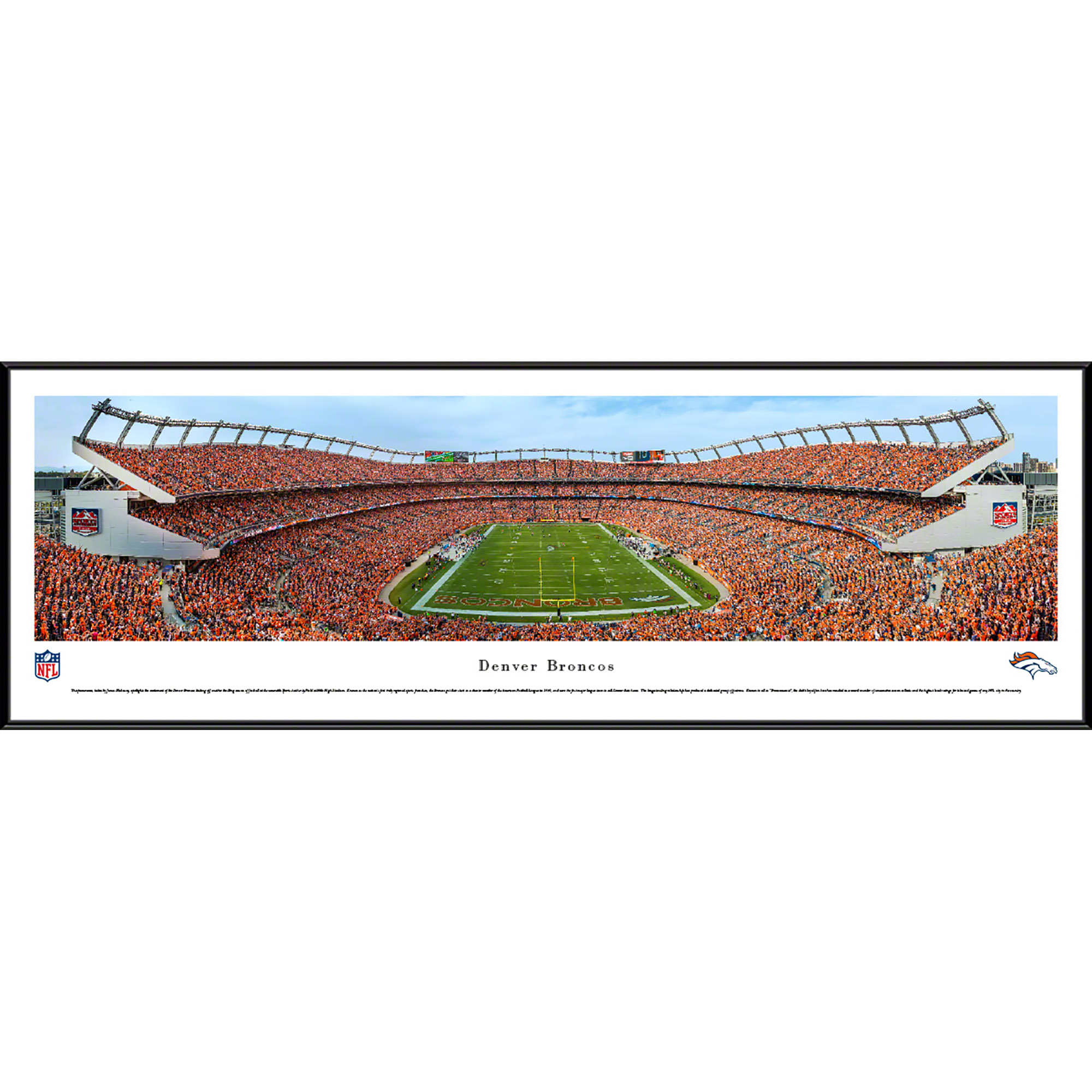 Denver Broncos - End Zone During A Night Game - Blakeway Panoramas NFL Print with Standard Frame