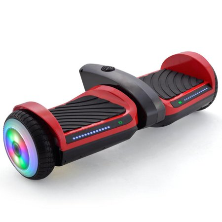 Hoverboard 6.5inch Flashing Wheels Hover Board Self Balancing Scooter with Carrying HANDLE Bluetooth Speaker LED Lights- Red (Glowing Bicycle Wheels)