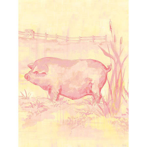 Oopsy Daisy - Toile Piggy, Pink Canvas Wall Art 18x24, Heather Gentile-Collins