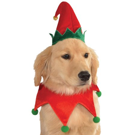 Festive Elf Hat With Jingle Bell & Collar Pet Dog Christmas Costume - SM/MD - Christmas Costumes Dogs