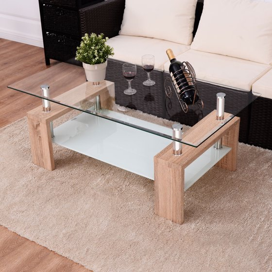 Tempered Glass Coffee Table With Drawers: Costway Rectangular Tempered Glass Coffee Table W/Shelf