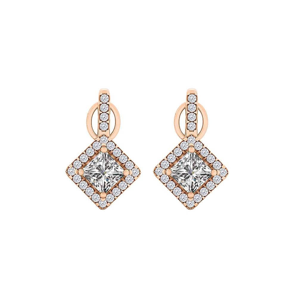 Rhombus Design Cubic Zirconia Square Stud Earrings - image 2 of 2