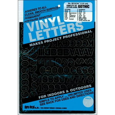 Permanent Adhesive Vinyl Letters & Numbers .75