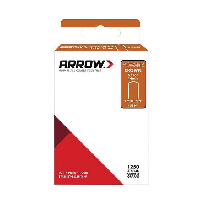 "Arrow Fastener 589SP #589 Wide Crown Standard Staples, Galvanized Steel, Grey, 9/16"" x 3/8"""