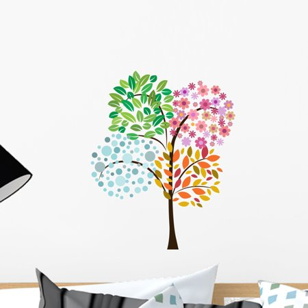 Colorful Tree Four Seasons Wall Decal Mural by Wallmonkeys Vinyl Peel and Stick Graphic for Girls (18 in H x 15 in W)