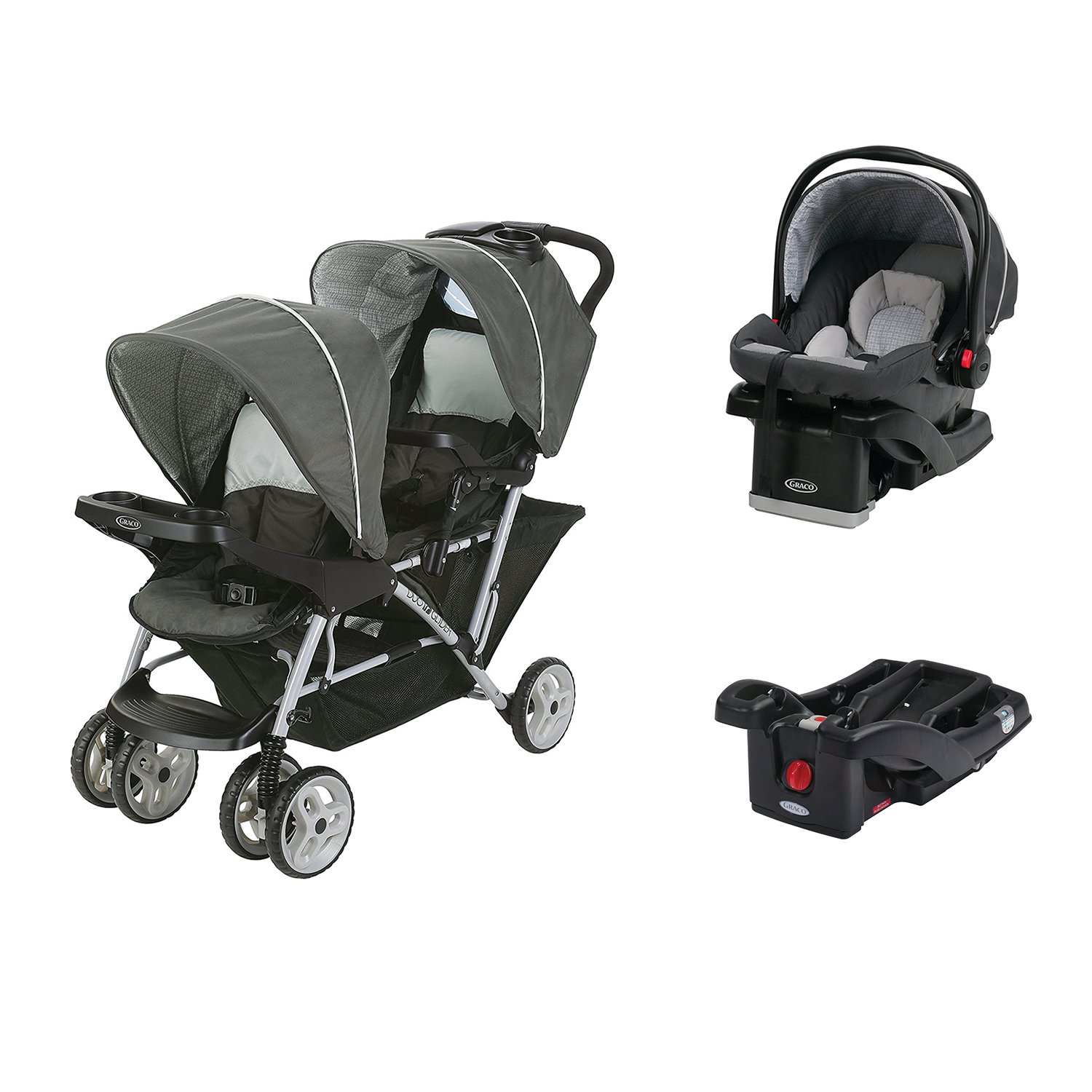 Graco DuoGlider Click Connect Double Stroller + Car Seat & Base Travel System by Graco
