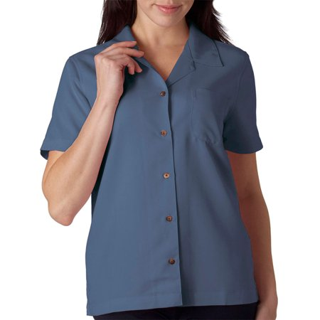 Cabana Banana Collection - UltraClub 8981 Cabana Breeze Ladies Camp Shirt -Wedgewood-X-Small