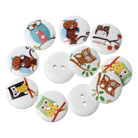 10 Pcs Wood Round Scrapbooking Sewing Buttons Painted Owl Design 18mm