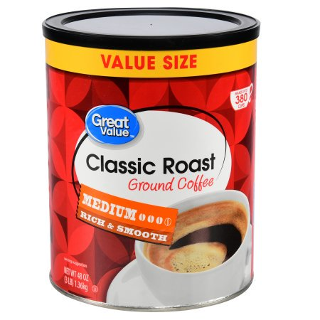 (2 Pack) Great Value Classic Roast Medium Ground Coffee Value Size, 48