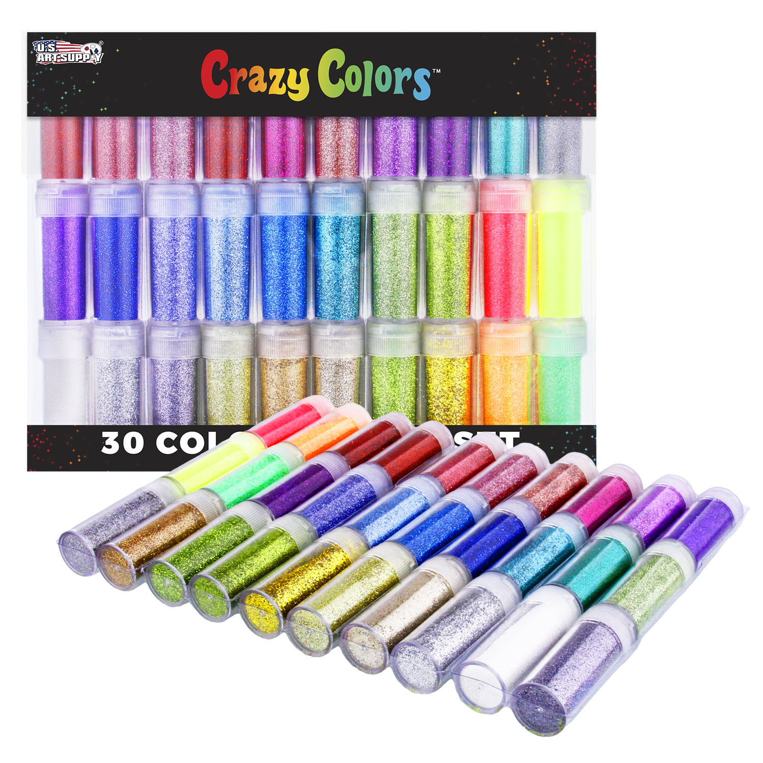 U.S. Art Supply Crazy Colors 30 Color Deluxe Glitter Shake Jars Set Kit - Extra Fine Glitter in Large 10 Gram Bottles