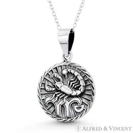 Scorpio Zodiac Sign Circle Astrology Charm Pendant & Chain Necklace in Oxidized .925 Sterling Silver