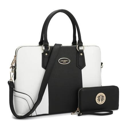 Dasein  Slim Briefcase Handbag with Matching Wallet