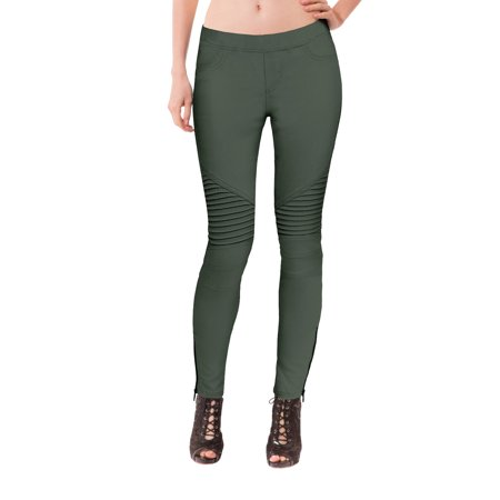 Womens Comfy Stretch Ankle Zipper Jeggings