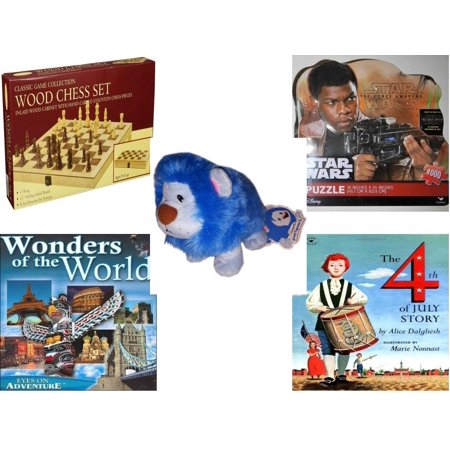 Children's Gift Bundle [5 Piece] -  Classic Wood Folding Chess Set  - Star Wars The Force Awakens Finn   - Neopets PetPet Blue