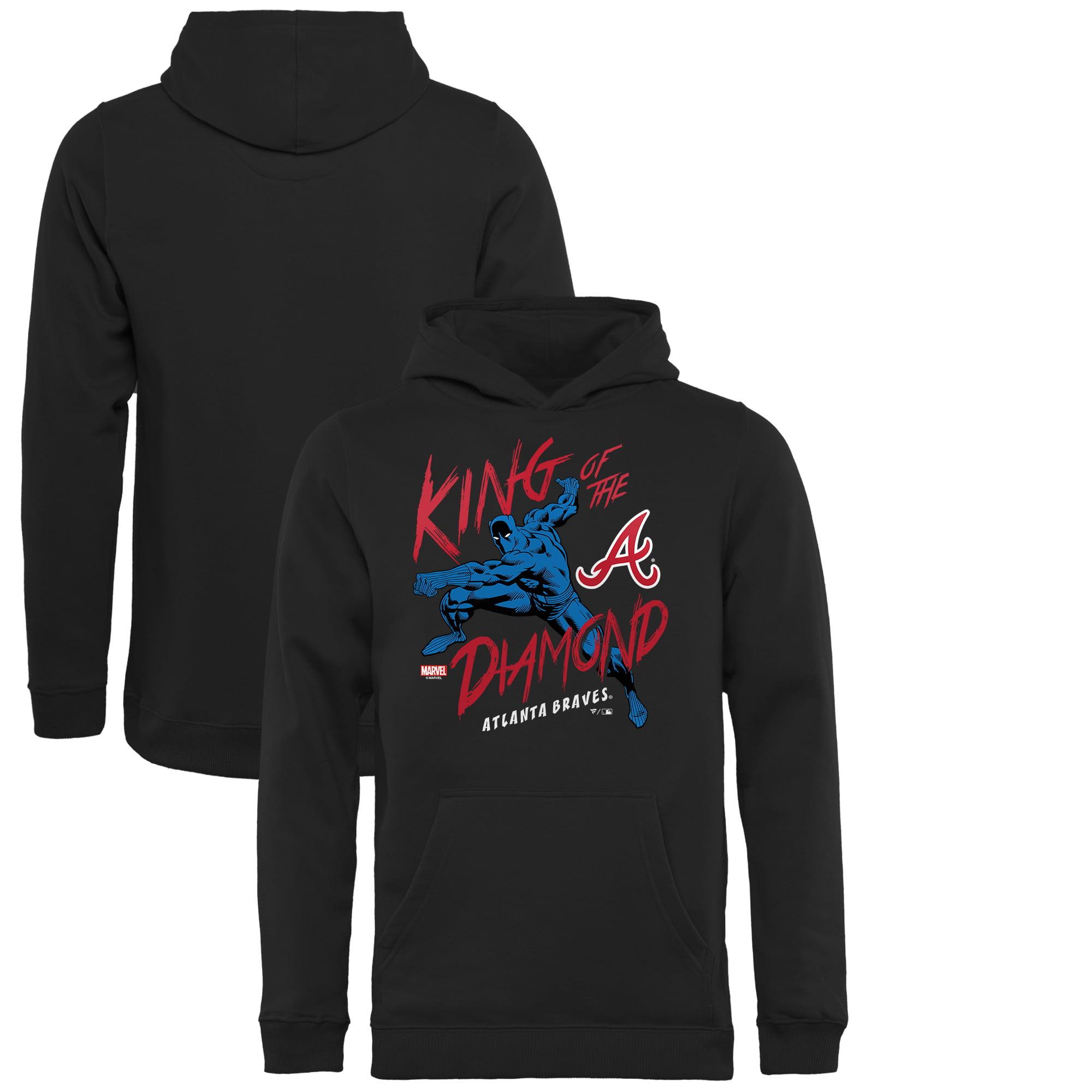Atlanta Braves Fanatics Branded Youth MLB Marvel Black Panther King of the Diamond Pullover Hoodie - Black