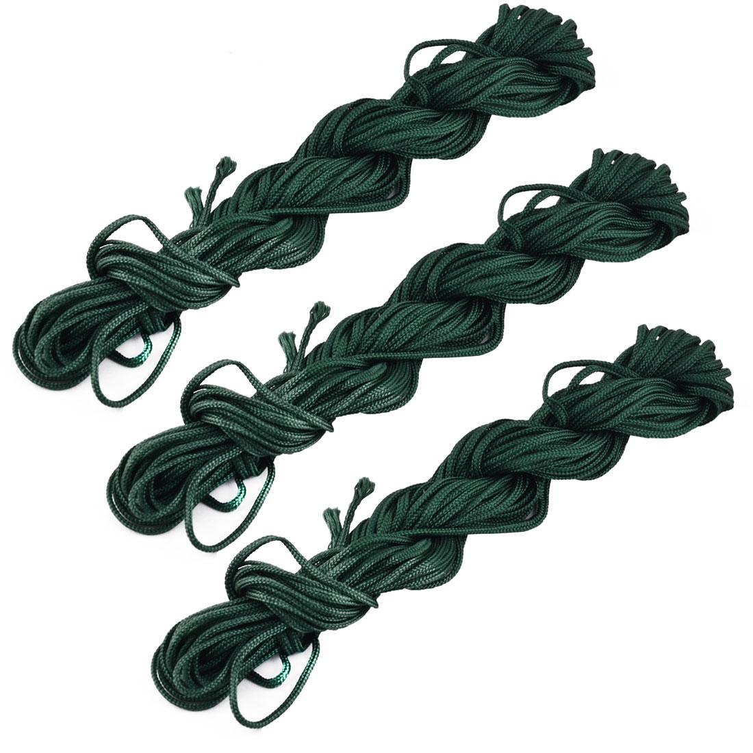 Nylon Craft DIY Chinese Knot Necklace Cord Thread Rope Dark Green 16 Yards 3 Pcs