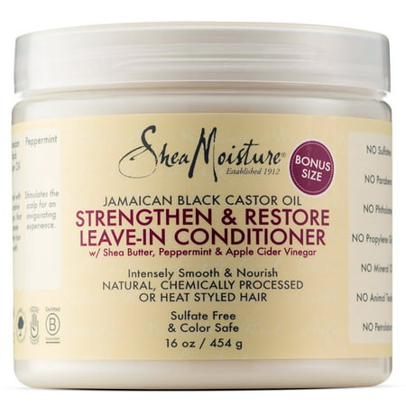 SheaMoisture Jamaican Black Castor Oil Strengthen & Restore Leave-In Conditioner, 16.0 fl oz