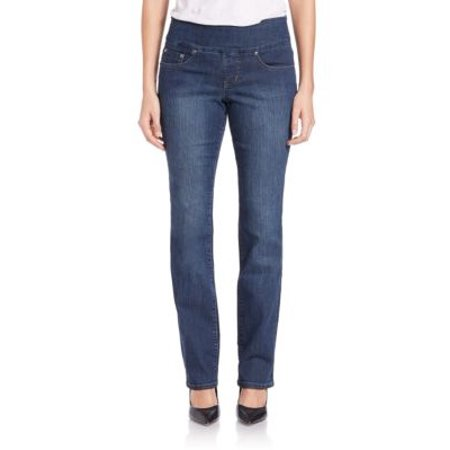 Jag Blue Denim Peri Tummy Control Pull-On High Rise Straight Leg Jeans  0