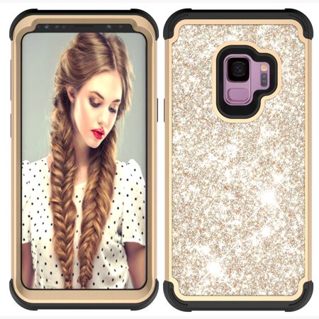 Black Sparkle Faceplate - Galaxy S9 Case,Samsung Galaxy S9 Kids Case, Allytech Glitter Sparkle Bling Three Layer Heavy Duty Hybrid Sturdy Armor Shockproof Protective Cover Case, Golden/ Black