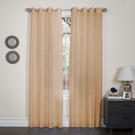 Set of 2 Holly Faux Silk Blackout Grommet Top Curtains, Energy Saving, Noise Resistant, Beige