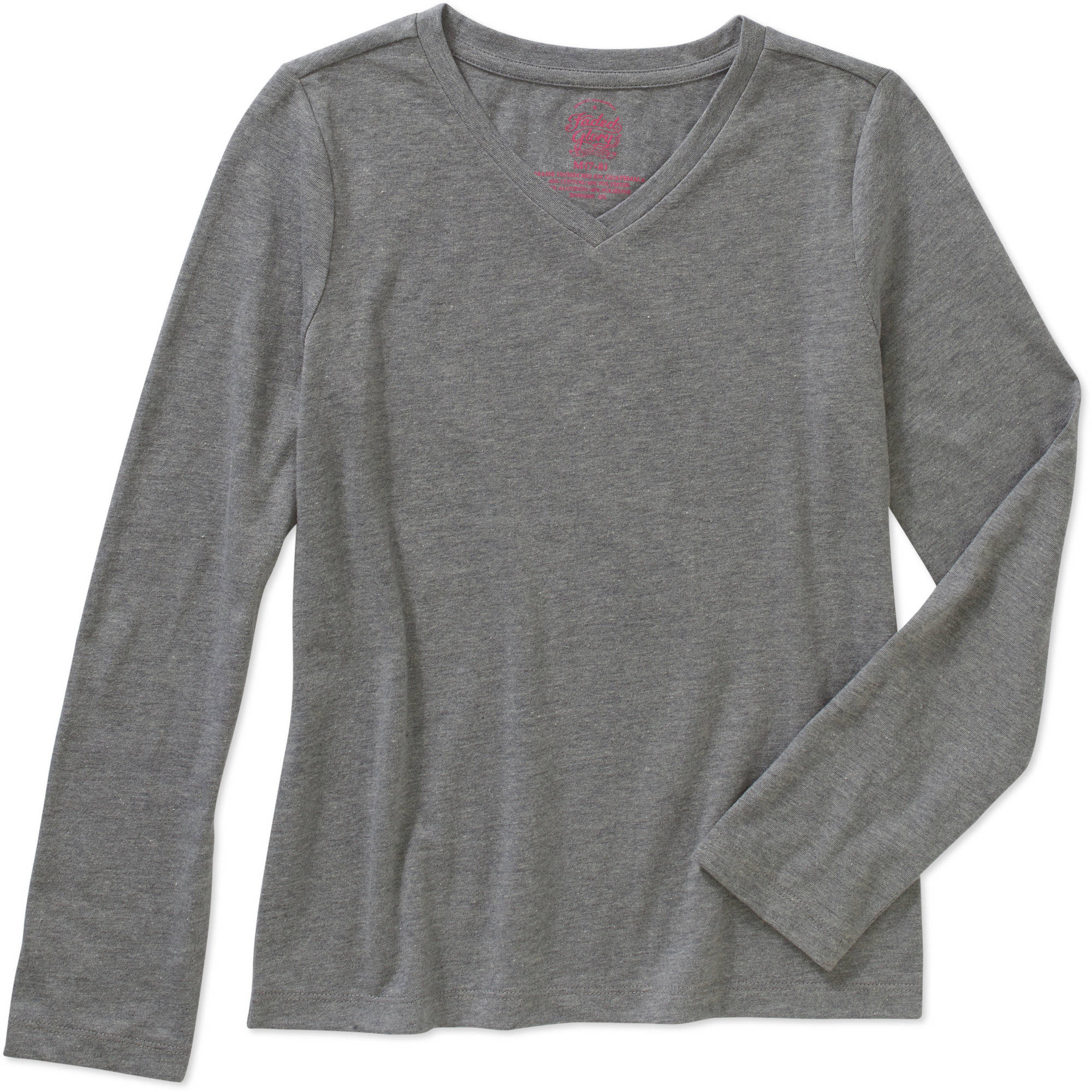 Faded Glory Girls' Long Sleeve V Neck Tee