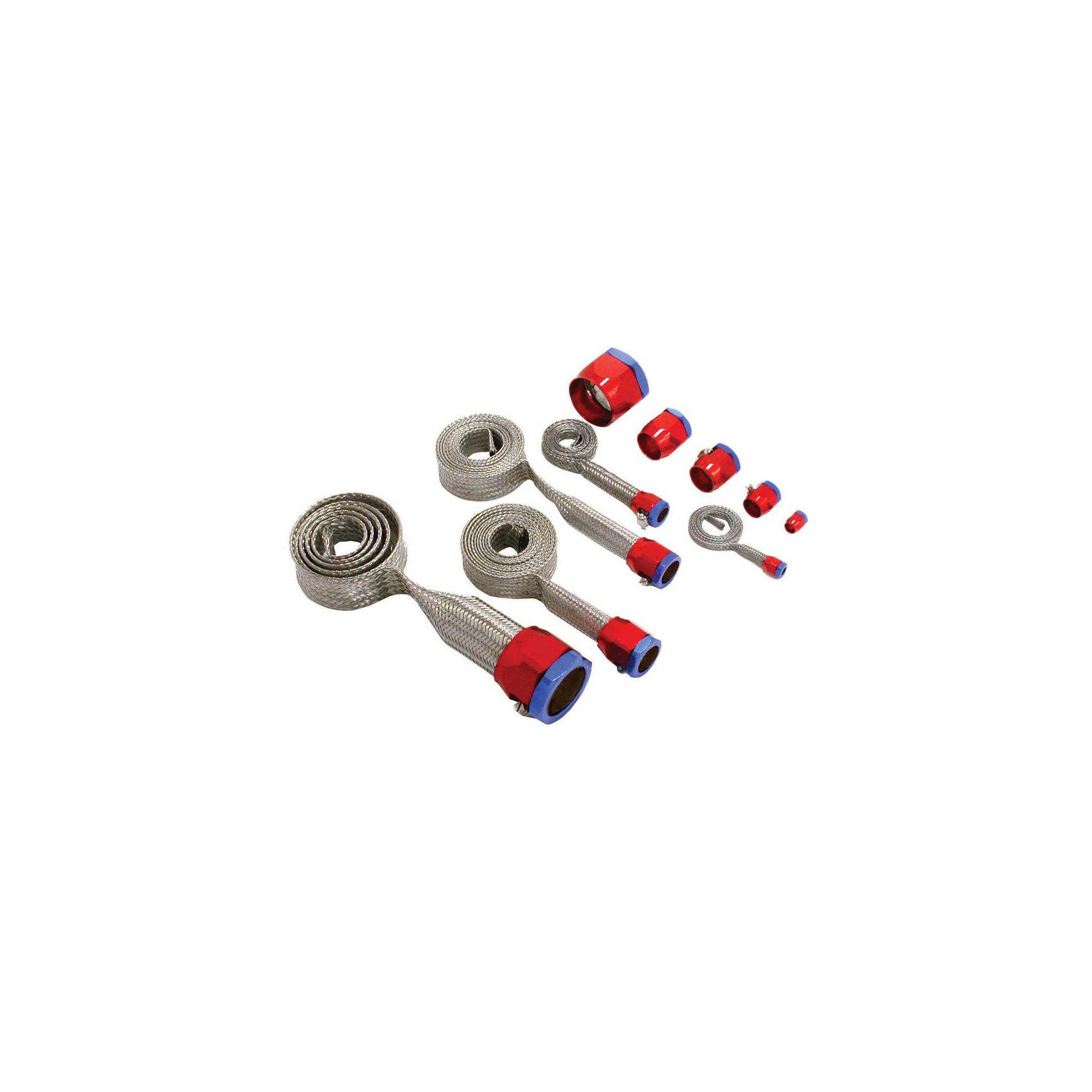 With Red//Blue Clamps Stainless Steel Ecklers Premier Quality Products 33-261357 Camaro Hose Cover Kit Universal