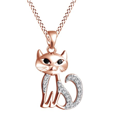 Cute Kitty Cat Simulated April Birthstone Cubic Zirconia & Black Onyx Pendant Necklace In 14K Rose Gold Over Sterling Silver Onyx Jewelry Necklace