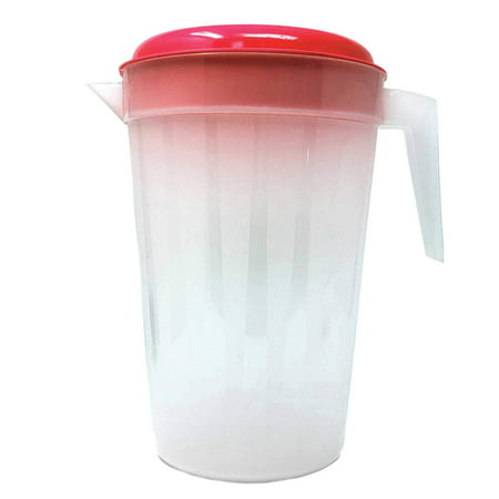 Heavy Duty 1 Gallon/4.5 Liter Round Clear Plastic Pitcher Jug With Lid See Through Base & Handle For Water Iced Tea Beverages-10 X 7 Inch-1