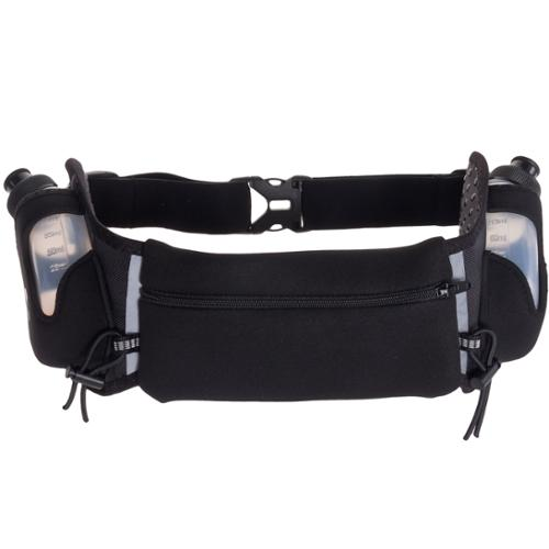 LISH Lightweight Sport Hydration Running Belt Waist Pack (Black w/ Black Zipper)