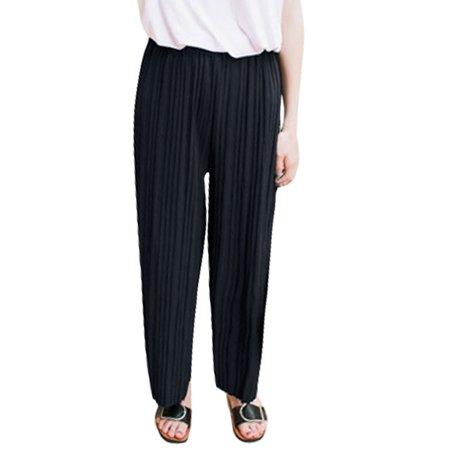 Women's Elastic High Waist Pleated Cropped Culottes