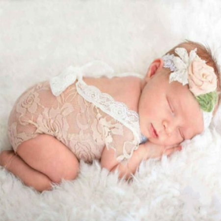 Newborn Baby Girl Lace Romper Newborn Photography Props Princess Costumes Hollow Deep V Infant Girls Shower Gift