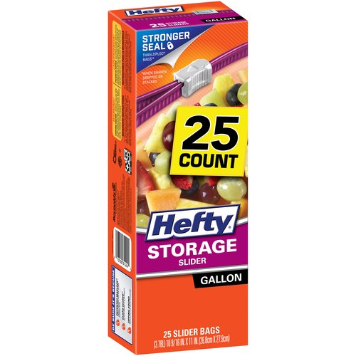 Hefty Gallon Size Storage Slider Bags, 25 count