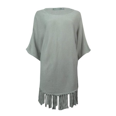 NY Collection Women's Dolman Sleeve Fringe Hem Sweater