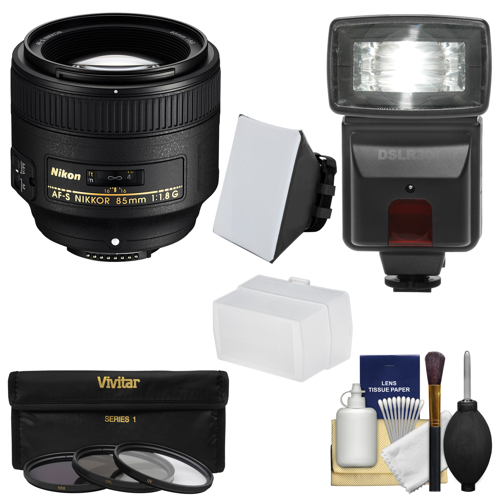 Nikon 85mm f/1.8G AF-S Nikkor Lens with 3 Filters + Flash & 2 Diffusers + Kit for D3200, D3300, D5200, D5300, D7000, D7100, D610, D800, D810, D4s DSLR Cameras