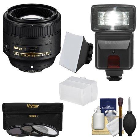 nikon 85mm f 1 8g af s nikkor lens with 3 filters flash. Black Bedroom Furniture Sets. Home Design Ideas