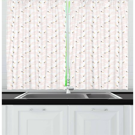 Swan Curtains 2 Panels Set, Childish Doodle Style Pastel Color Swan Princesses Girly Style Kids Nursery, Window Drapes for Living Room Bedroom, 55W X 39L Inches, Peach Marigold Black, by Ambesonne (Pastel Princess)