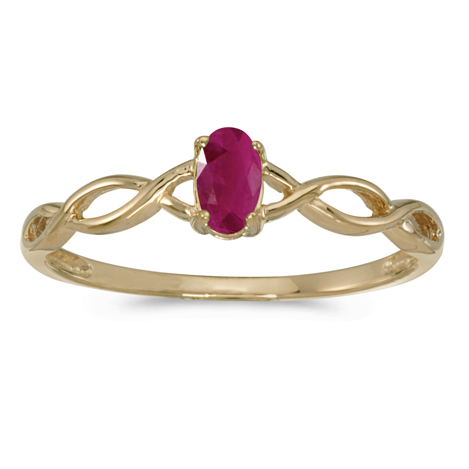 10k Yellow Gold Oval Ruby Ring by