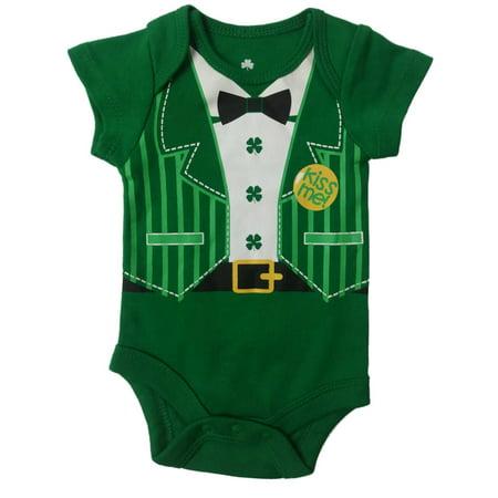 Infant Green Tuxedo Suit St Patricks Day Single Clover Shamrock Baby