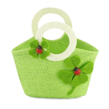 18-inch Doll Accessories | Doll-Sized Woven Green and Cream Ladybug Purse - Handbag | Fits American Girl (Hand Knit Doll Booties)