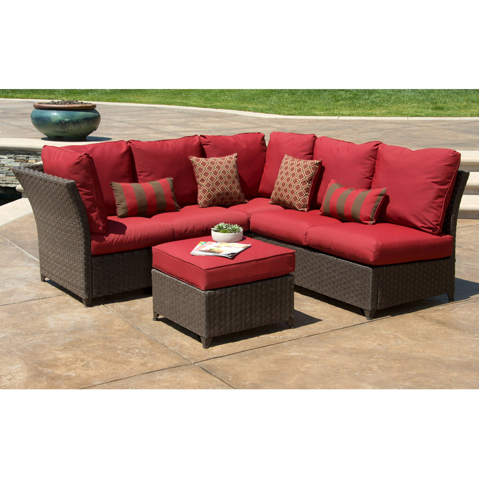 Better Homes And Gardens Rushreed 3 Piece Outdoor Sectional Sofa Set, Red,  Seats