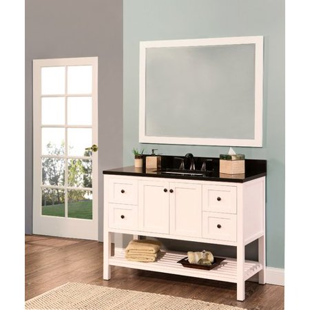 NGY Stone & Cabinet Hampton Bay 48'' Single Bathroom Vanity with Mirror Hampton Vanity Cabinet