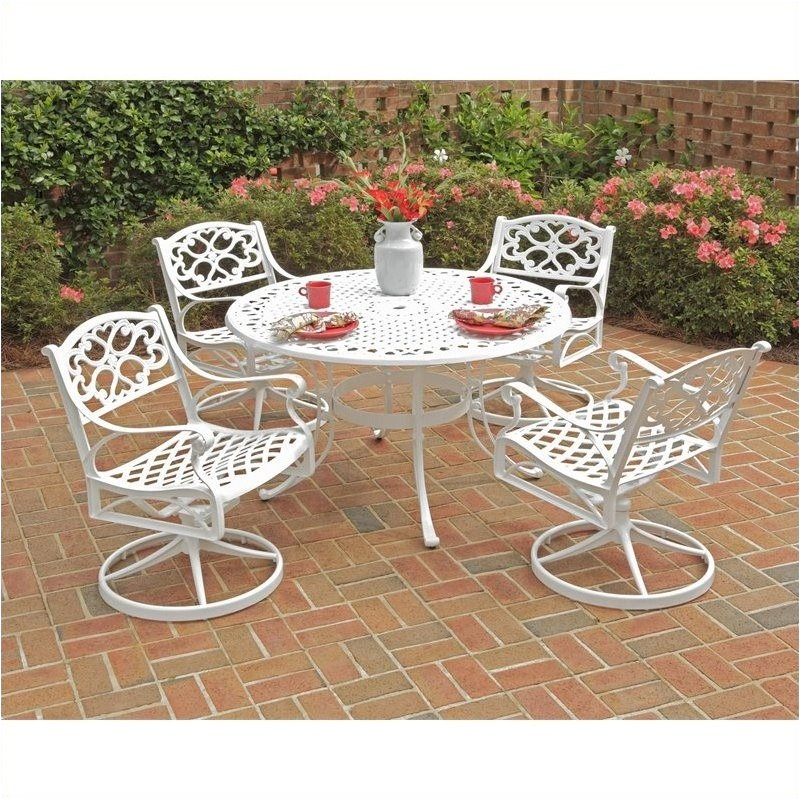 Bowery Hill 5 Piece Metal Patio Dining Room Set in White by Bowery Hill