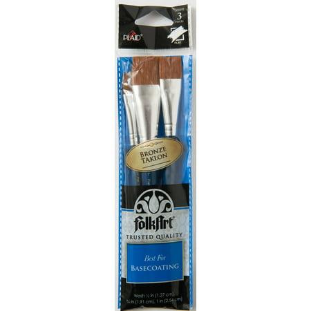 Plaid Paint Brushes (Plaid Brown Nylon Brush Set, 3 piece )