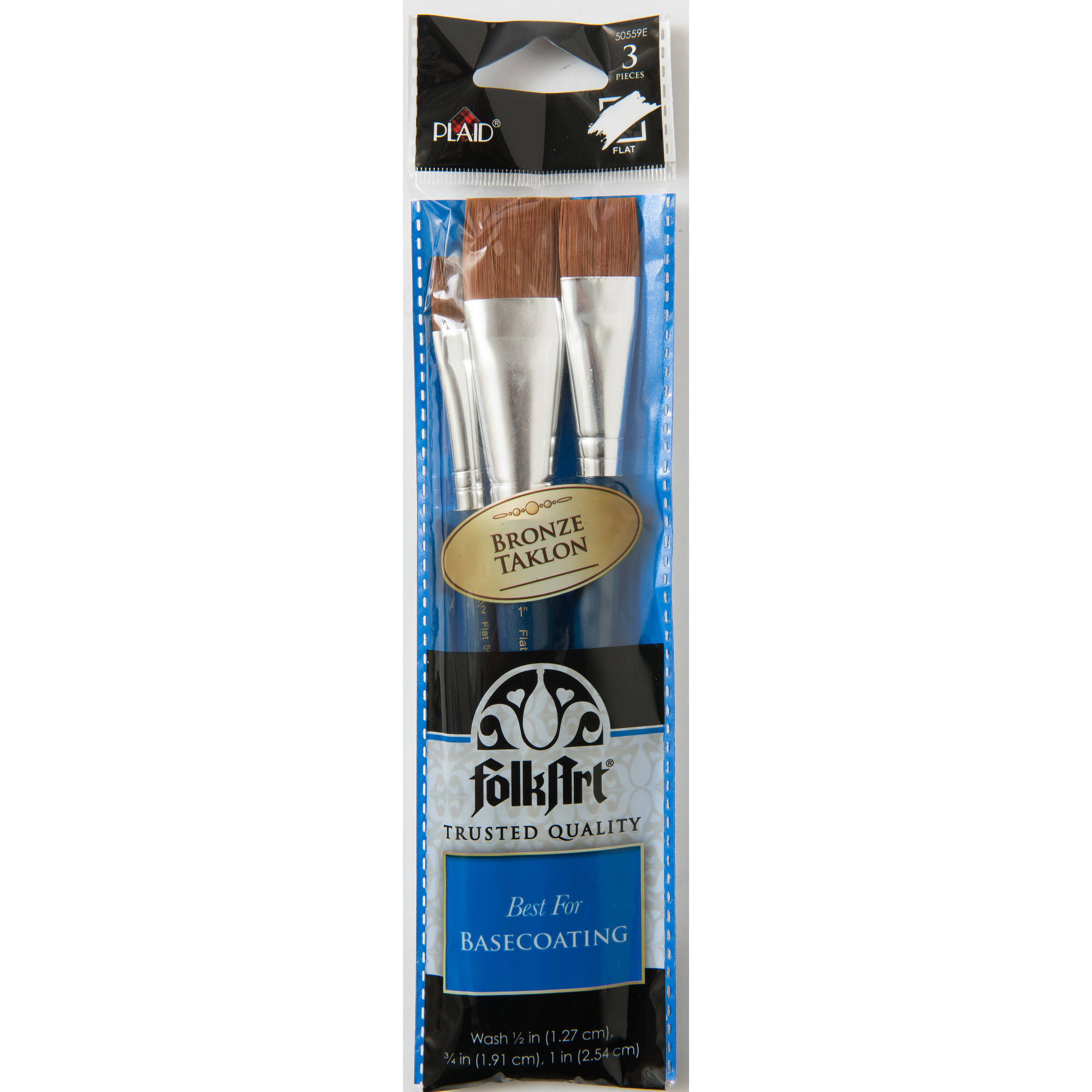 Plaid Brown Nylon Brush Set, 3 piece