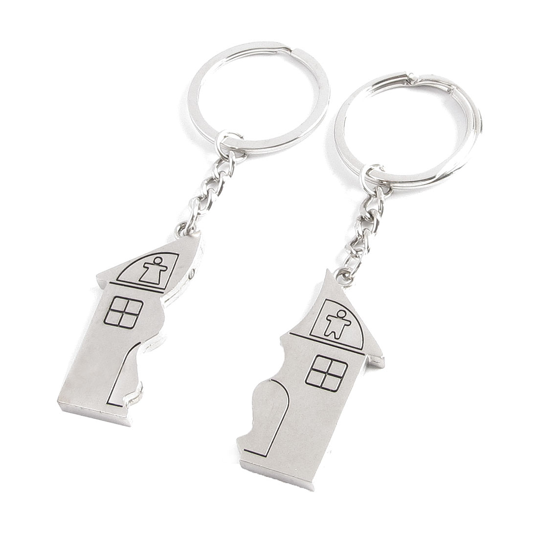 Lovers House Shape Magnetic Pendant Key Ring Chains Holder Silver Tone Pair by
