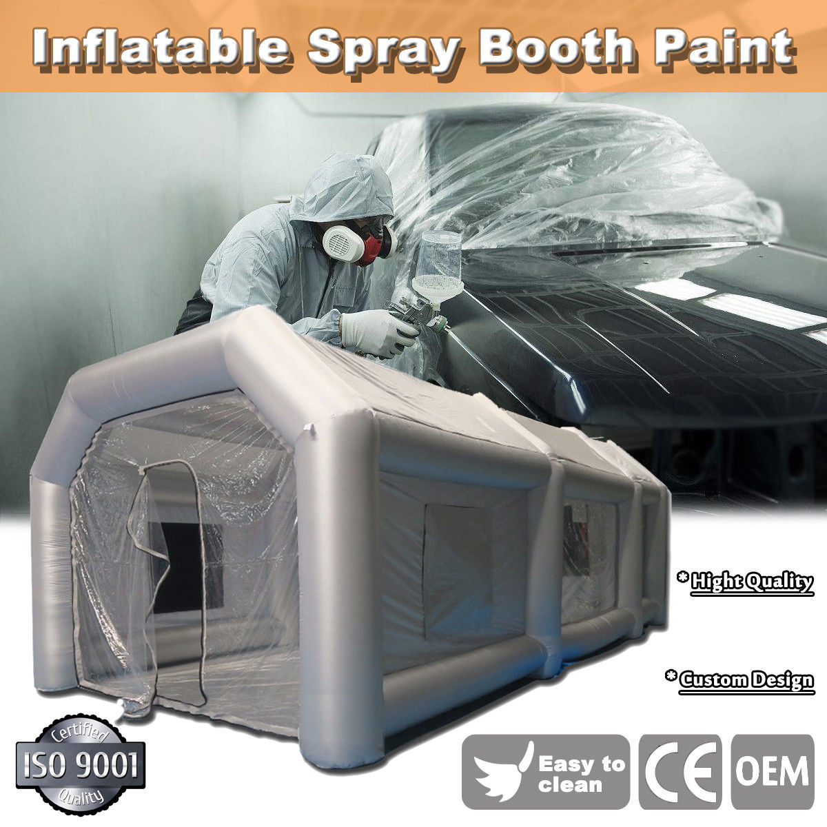 20x10x8Ft Inflatable Booth Custom Tent Car + Filtration System Grey
