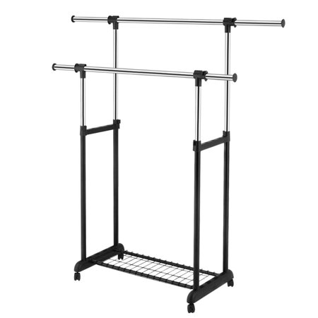 Double Rail Rolling Garment Rack Adjustable Clothes Drying