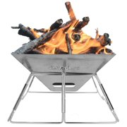 Wealers Compact Folding 16 Inch Fire Pit BBQ Grill Made From Stainless Steel. Portable and Great for Camping, Picnics, Backpacking, Backyards, Survival, Emergency Preparation.