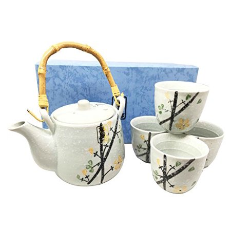 Japanese Design Yellow Cherry Blossom Luxury Ceramic Tea Pot and Cups Set Serves 4 Guests Beautifully Packaged in Gift Box Excellent Home Decor Asian Living - Graduation Gifts For Guests