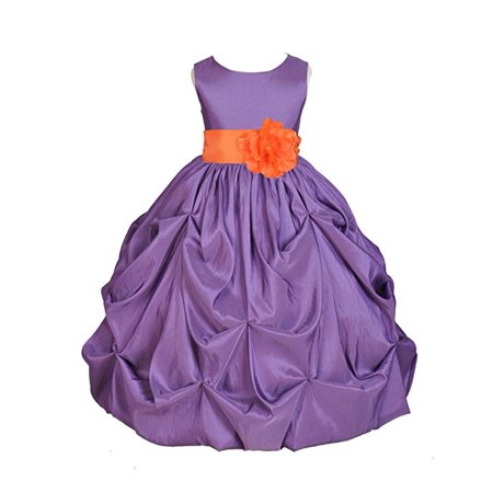 Ekidsbridal Purple Satin Taffeta Pick-Up Bubble Flower Girl Dresses Junior Toddler Formal Special Occasions Wedding Pageant Dresses Ball Gown Dance Recital Reception Birthday Girl Party - Toddler Ball Gown